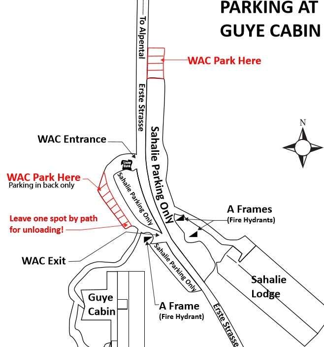 Map of where to park during winter season